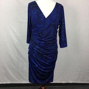Jennifer Lopez Blue Modern Muse Snake Print Dress